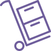 Image of a trolley with boxes on it icon